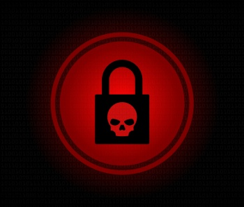 Ransomware alert computer screen stock illustration