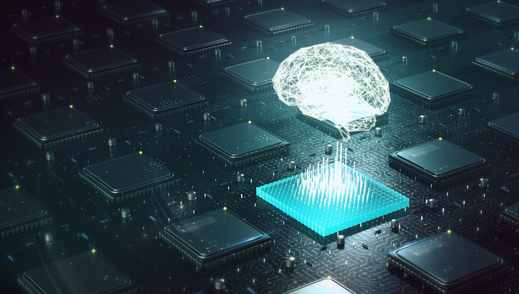 Machine learning , artificial intelligence , ai, deep learning blockchain neural network concept. Brain made with shining wireframe above multiple blockchain cpu on circuit board 3d render.