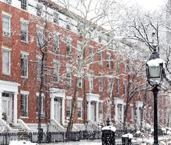 Apartments in snow