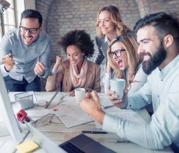 coworkers host successful meeting