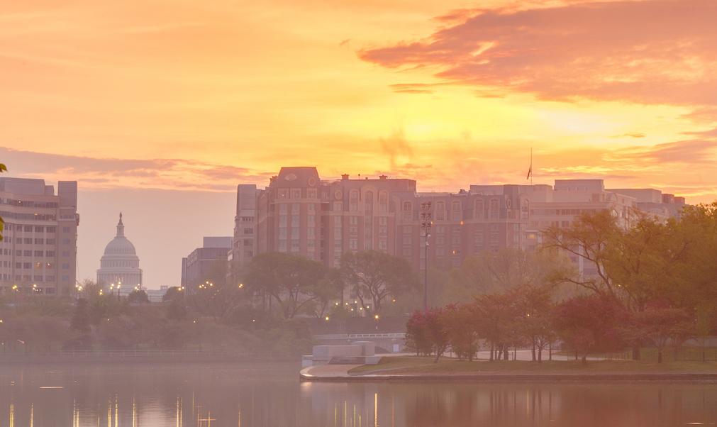 Washington D.C. sunrise over lake