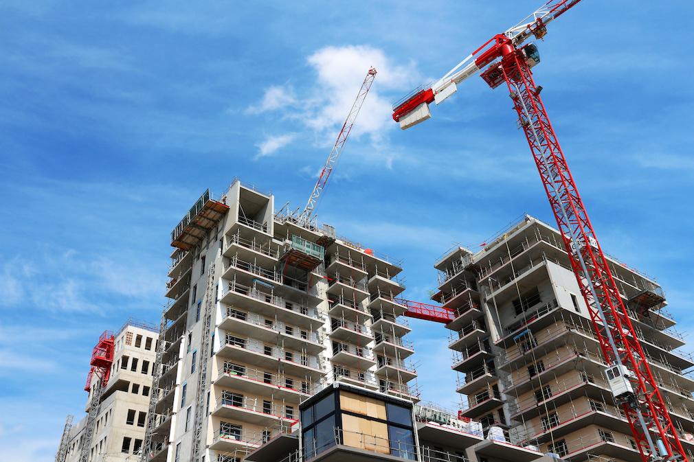 big apartment buildings under construction