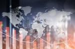 Graph down World economic recession concept multiple exposure.