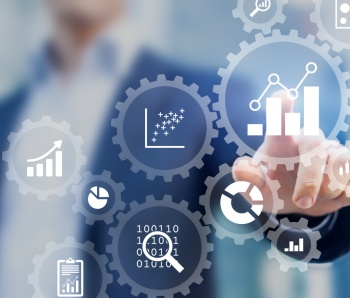 Business data analytics process management with consultant touching connected charts