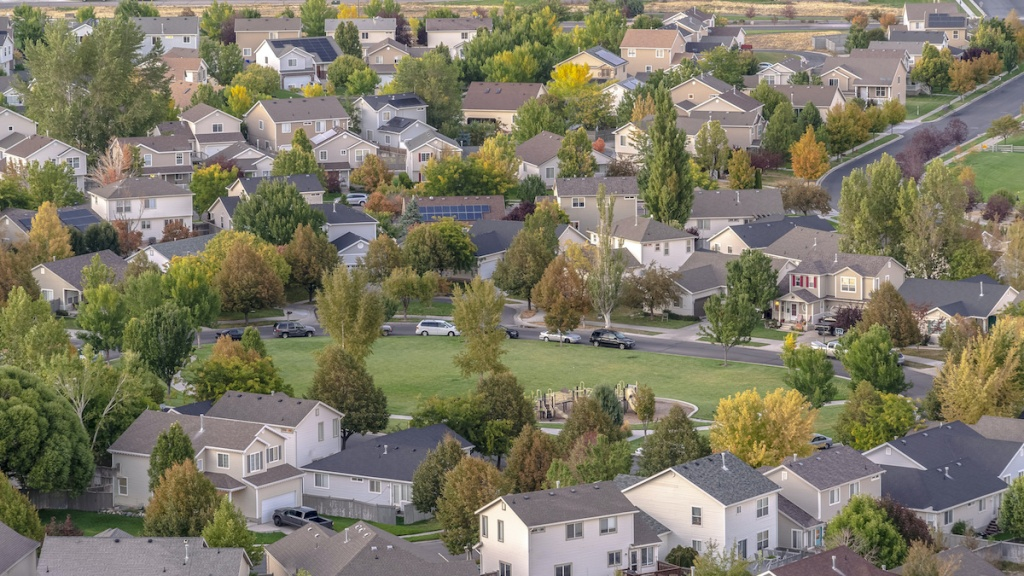 Open park or sports field in Utah Valley suburbs