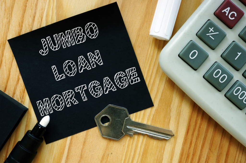 Business photo shows printed text jumbo Loan mortgage
