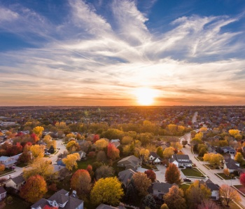 Sunset in the fall over the suburbs