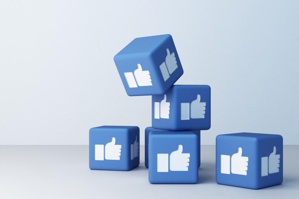 Facebook like buttons on blue blocks falling