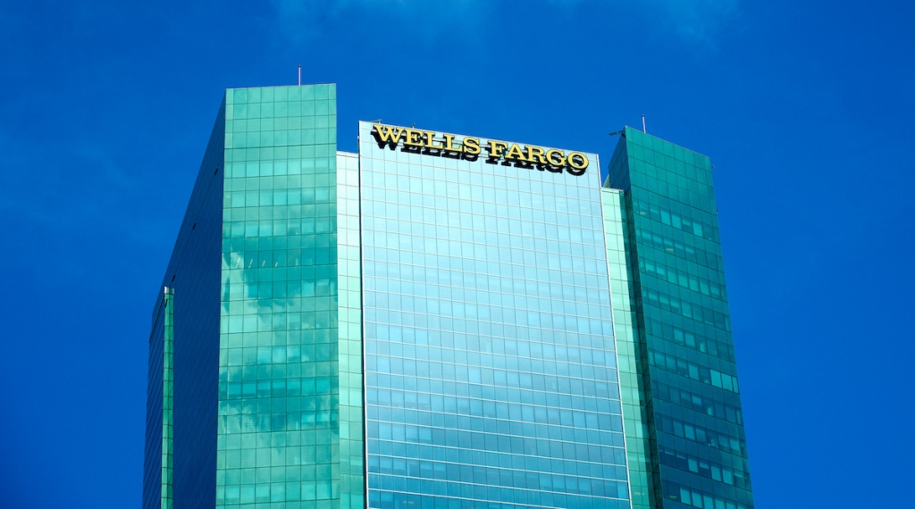 Wells Fargo skyscraper and logo