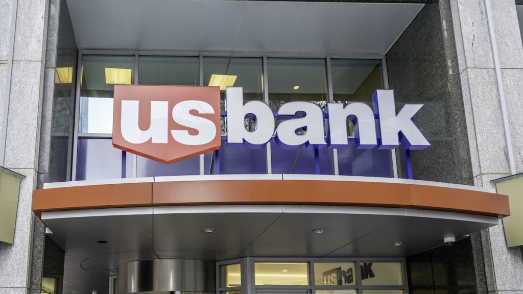 Charlotte, North Carolina, USA - January 15, 2020: Sign of US bank at one of the branch in Charlotte, North Carolina, USA. U.S. Bancorp (stylized as us bancorp) is an American bank holding company.
