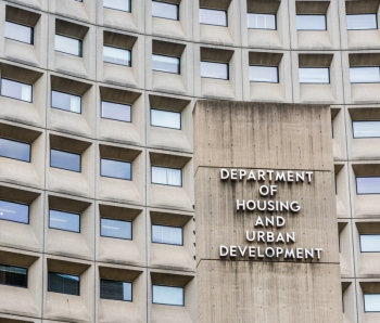 Washington DC, USA - July 3, 2017: Department of Housing and Urban Development in downtown with closeup of sign and building windows