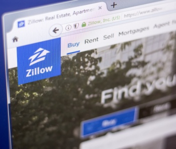 Ryazan, Russia - March 01, 2018 - Homepage of Zillow - real estate service, on a display of PC, web adress - zillow.com