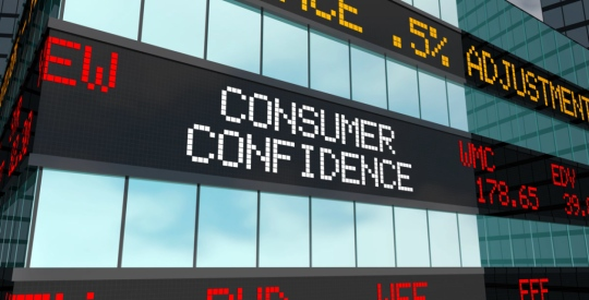 Consumer Confidence Wall Street Rise Increase Stock Market Ticker 3d Illustration