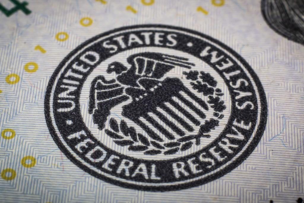 Federal reserve system symbol. Macro shot.