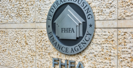 Washington DC, USA - July 3, 2017: Federal Housing Finance Agency seal in downtown with closeup of sign and logo