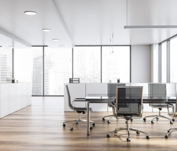 Modern white empty office interior with board table. 3D render.