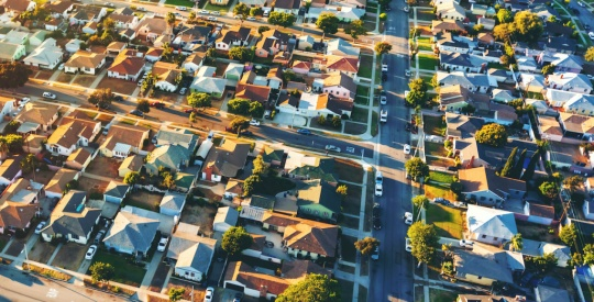 Aerial view of of a residential neighborhood in LA