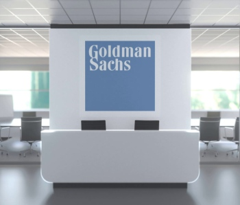 Logo of GOLDMAN SACHS on a wall in the modern office, editorial conceptual 3D rendering