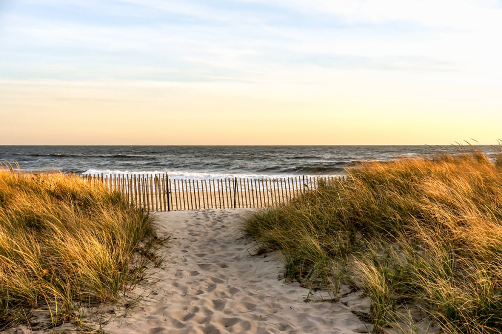 Sunset in a November Autumn day, at Hamptons Beach New York