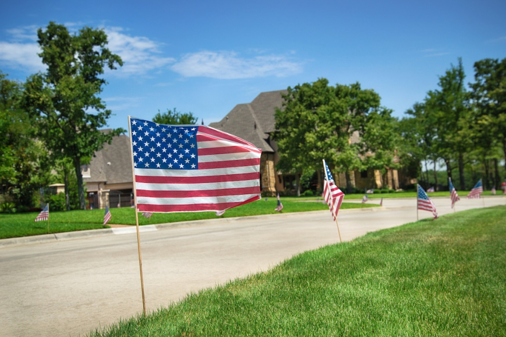 American flags displayed in honor of the 4th of July