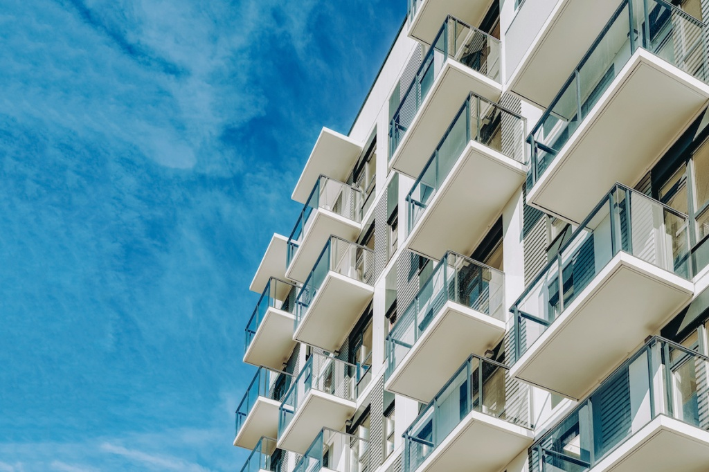Detail of Modern residential apartment flat building exterior