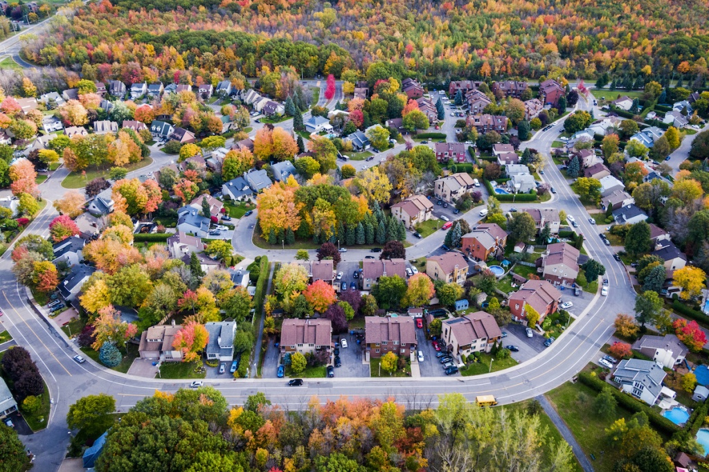 Aerial View of Residential Neighbourhood in Montreal During Autumn Season, Quebec, Canada