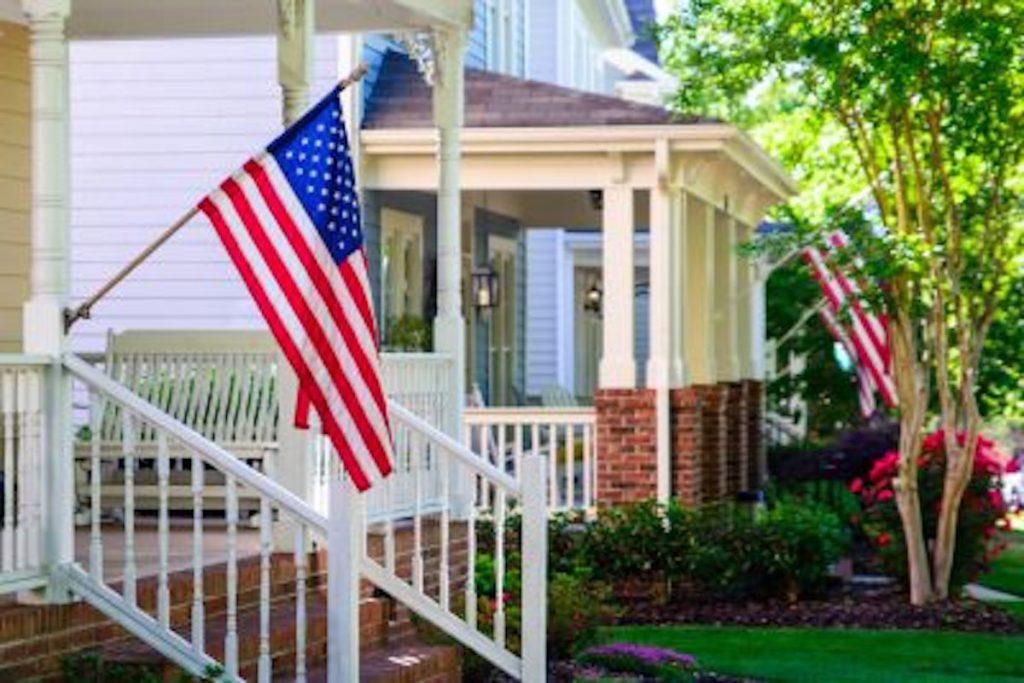 house, american flag, neighborhood