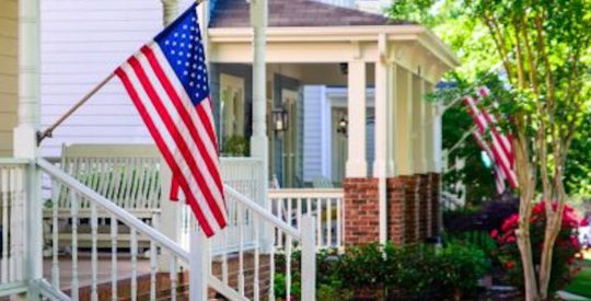 house, american flag, neighborhood
