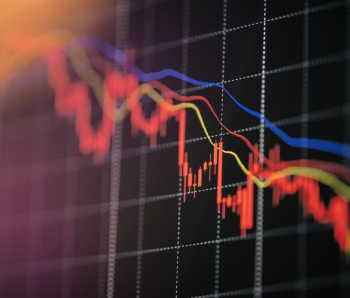 Stock crash market exchange loss trading graph analysis investment indicator business graph charts of financial digital background down stock crisis red price in down trend chart fall /