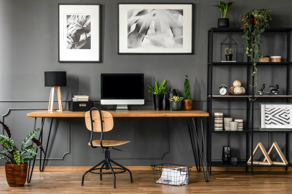 Posters in natural home office