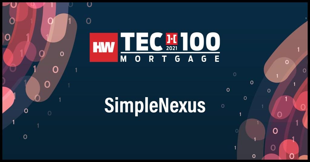 SimpleNexus-2021 Tech100 winners-mortgage