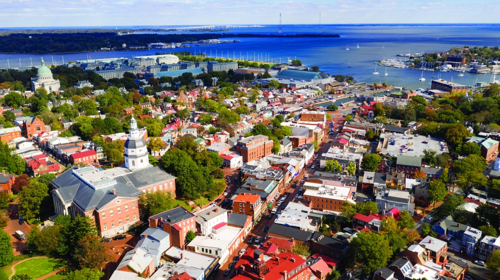 Aerial Panoramic View Annapolis Maryland State House Capital Cit