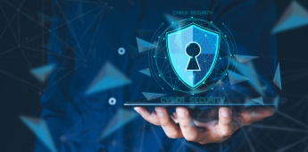 Data or network protection, business people press shield icon, virus security. Data protection and insurance Business security concepts, information security against virus. binary number 1010.