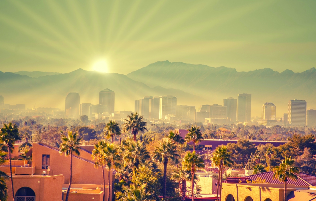 Sunrise over Phoenix Arizona USA