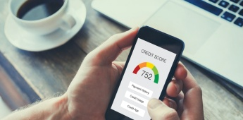 credit score concept on the screen of smart phone, checking payment history in bank