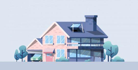 Hi tech home in nature illustration
