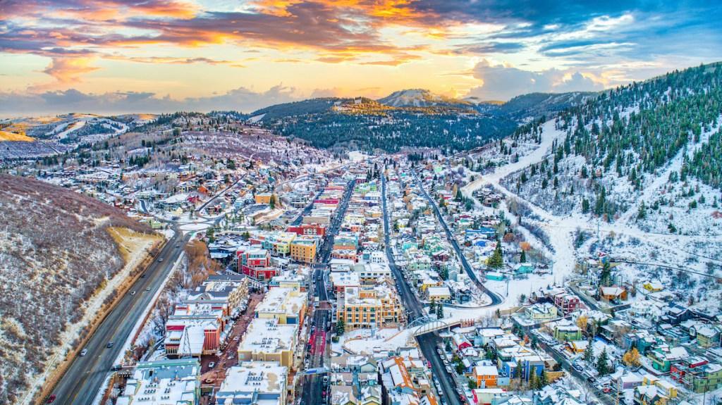 Downtown Park City, Utah, USA Skyline Aerial Panorama