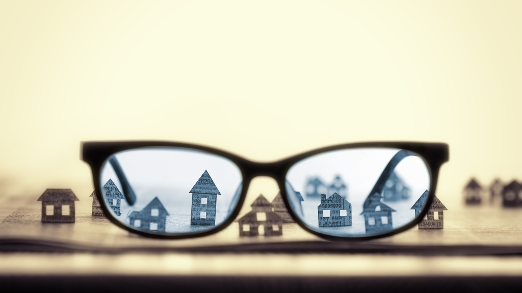 Eyeglasses  with paper houses