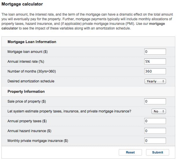 Yahoo mortgage calculator standalone