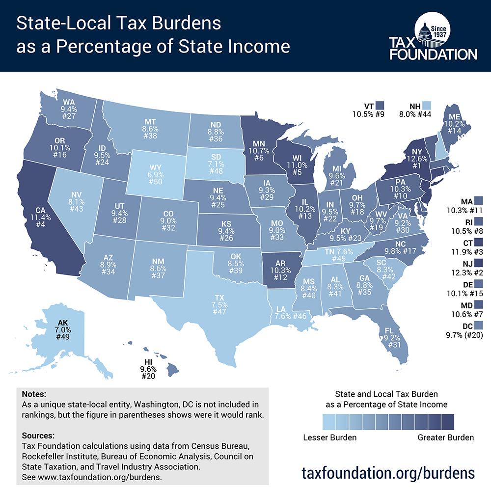 US Tax Burden Map