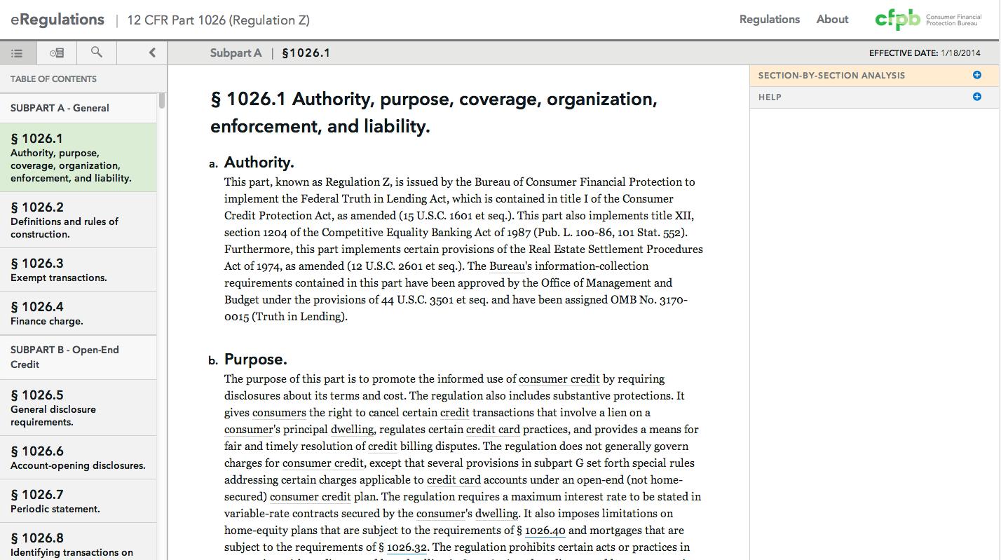 CFPB eRegulations