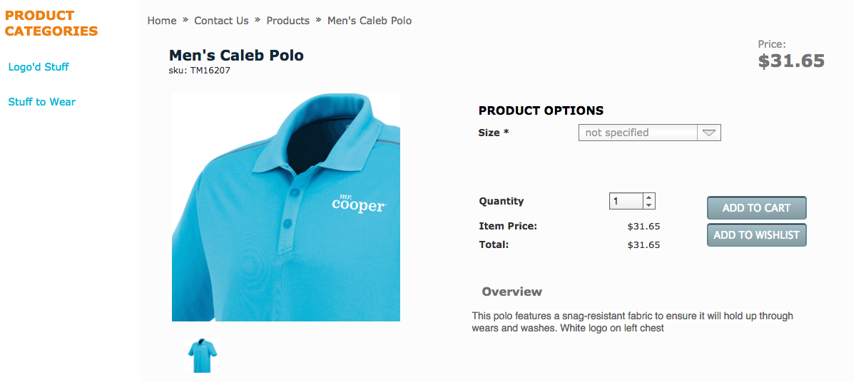 Mr. Cooper online store polo shirt