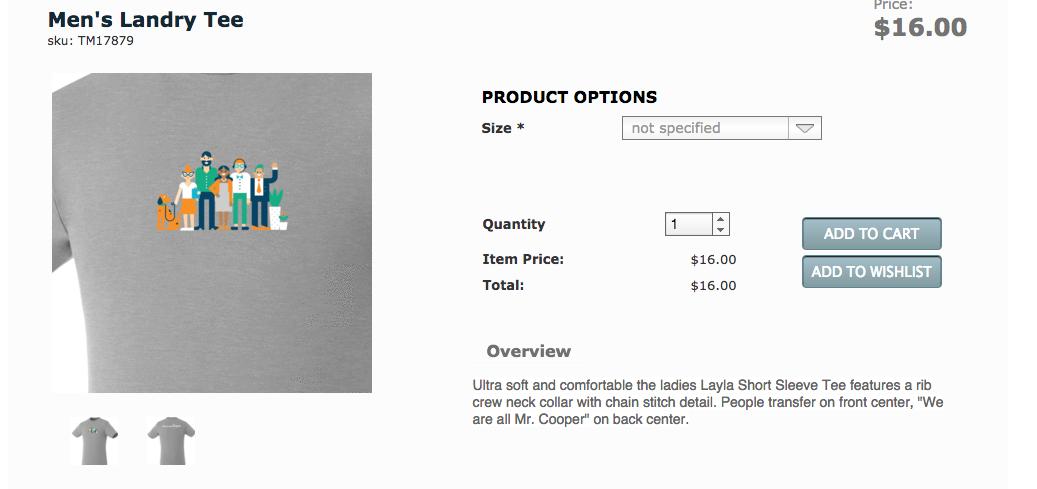 Mr. Cooper online store t-shirt