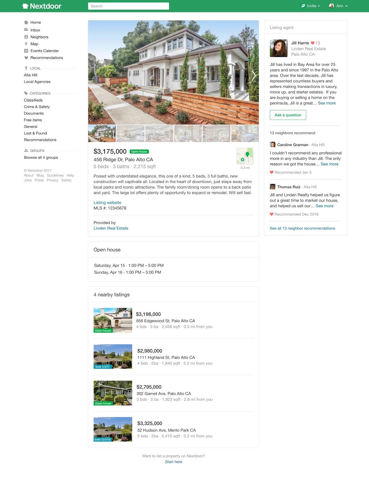 Nextdoor real estate listing