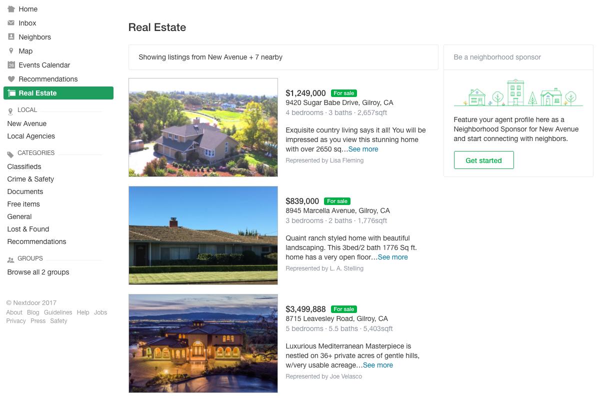 Nextdoor real estate section