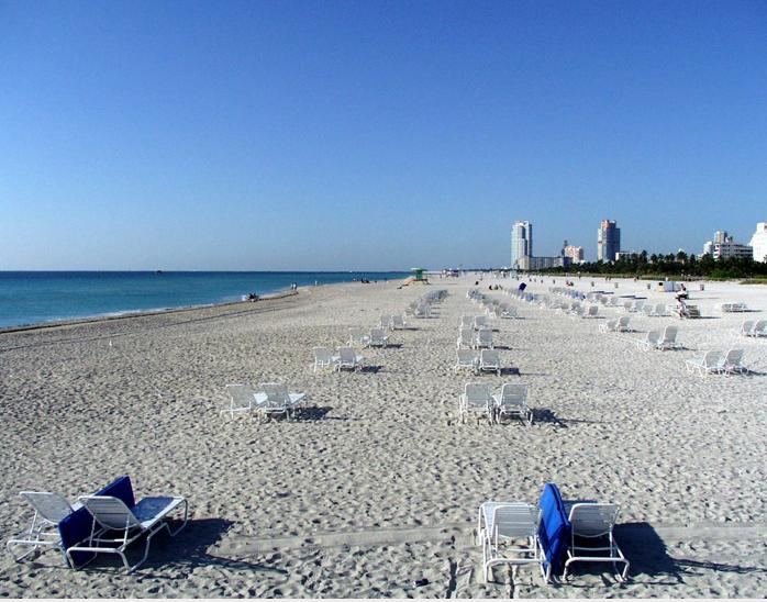 Miami beach sand water