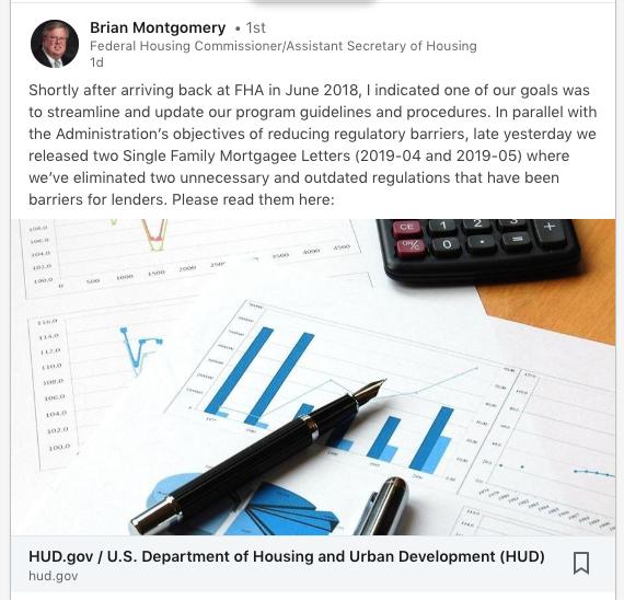 Screenshot of Brian Montgomery FHA Linkedin Post